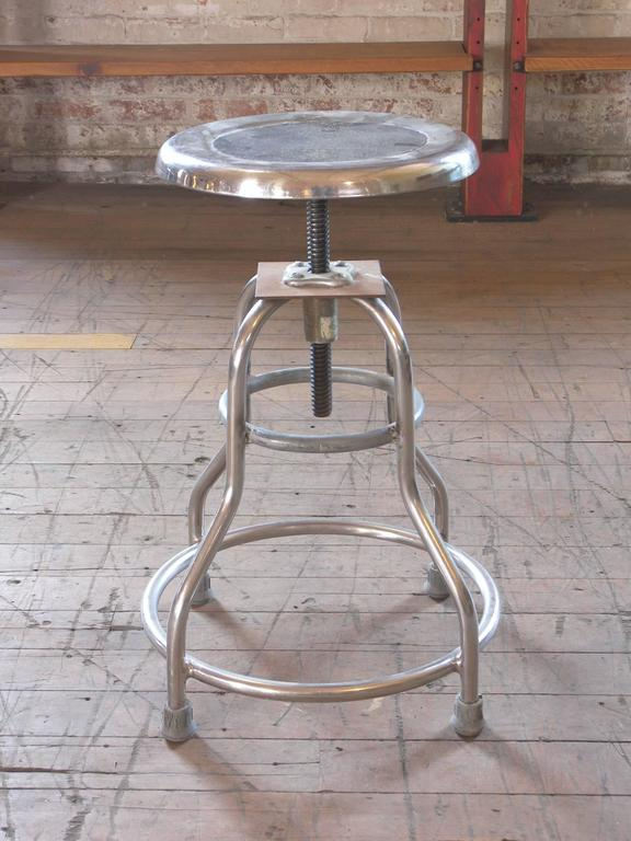 Vintage Medical Stool u201cSh&aineu201d Silver Metal Adjustable Backless Seat 3 : vintage metal stool - islam-shia.org