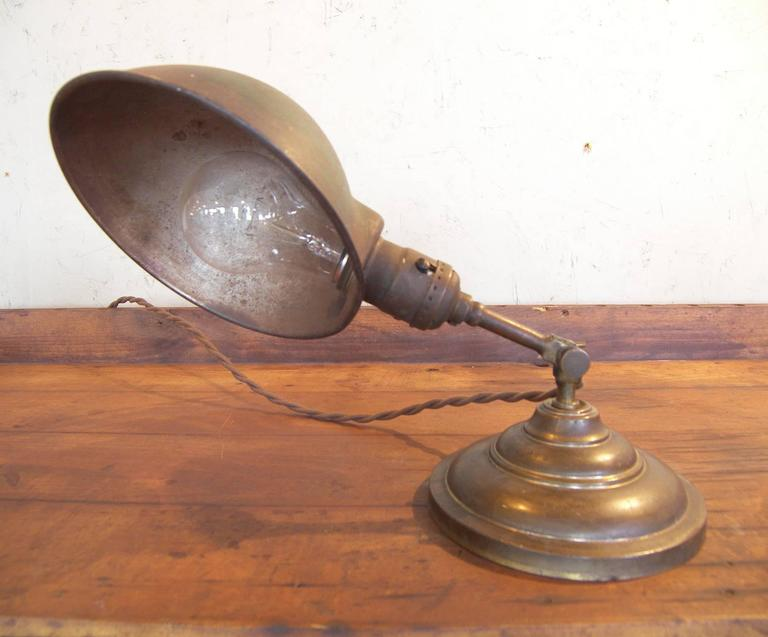 Antique Vintage Industrial Adjustable Metal & Brass Desk Table Task Lamp Light For Sale 1