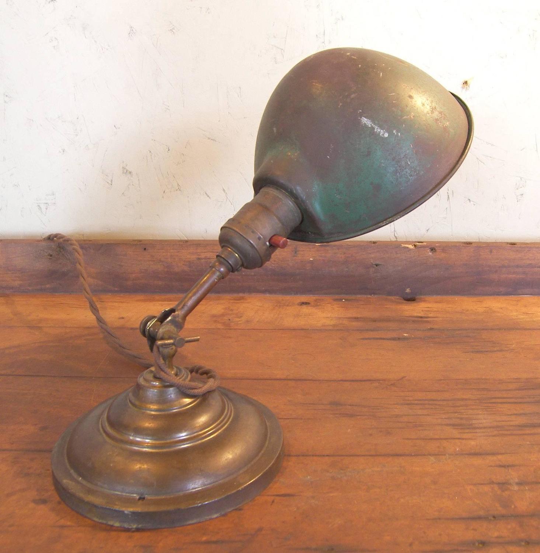 small antique desk lamp vintageindustrial vintage light green metal. Black Bedroom Furniture Sets. Home Design Ideas