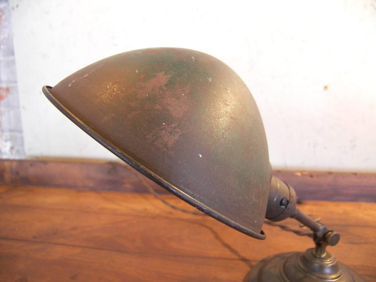 Antique Vintage Industrial Adjustable Metal & Brass Desk Table Task Lamp Light For Sale 3