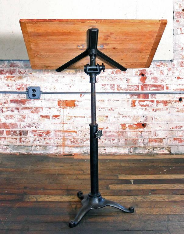 Vintage Pedestal Table Cast Iron Wood Tilt Top Artist Drafting Music Stand 4