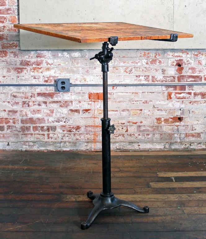 Vintage Pedestal Table Cast Iron Wood Tilt Top Artist