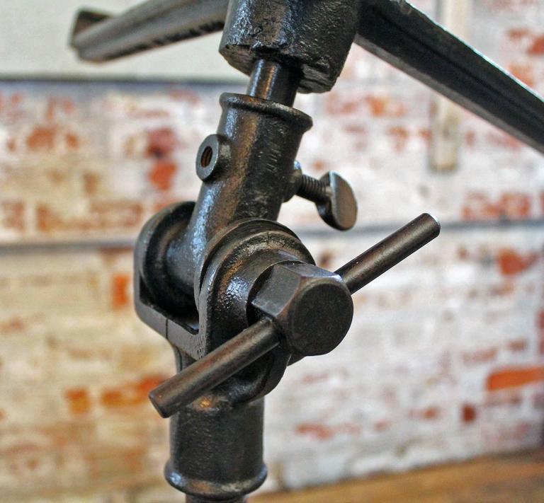 Vintage Pedestal Table Cast Iron Wood Tilt Top Artist Drafting Music Stand 9