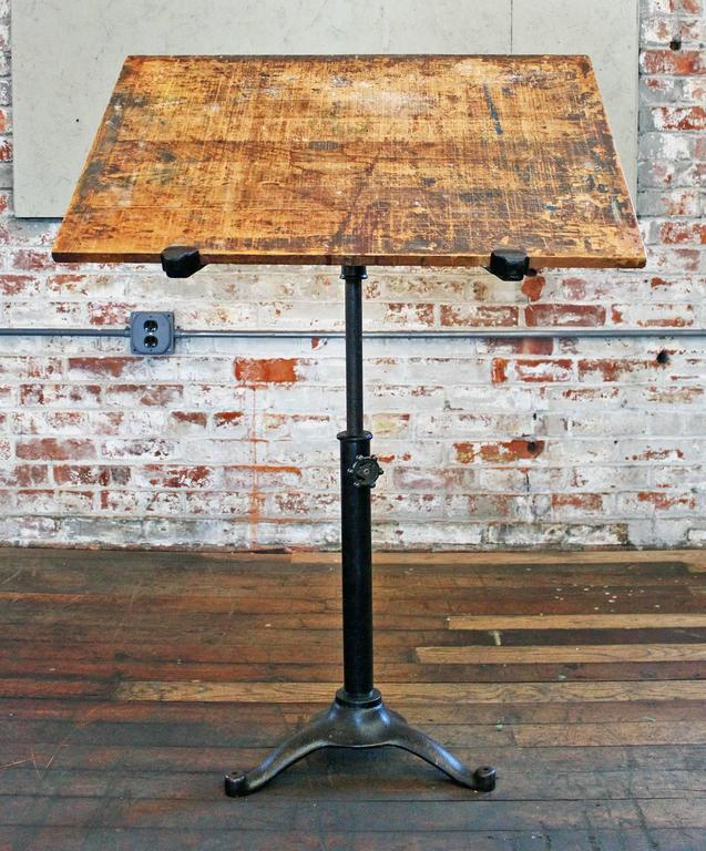 Vintage Pedestal Table Cast Iron Wood Tilt Top Artist Drafting Music Stand 2
