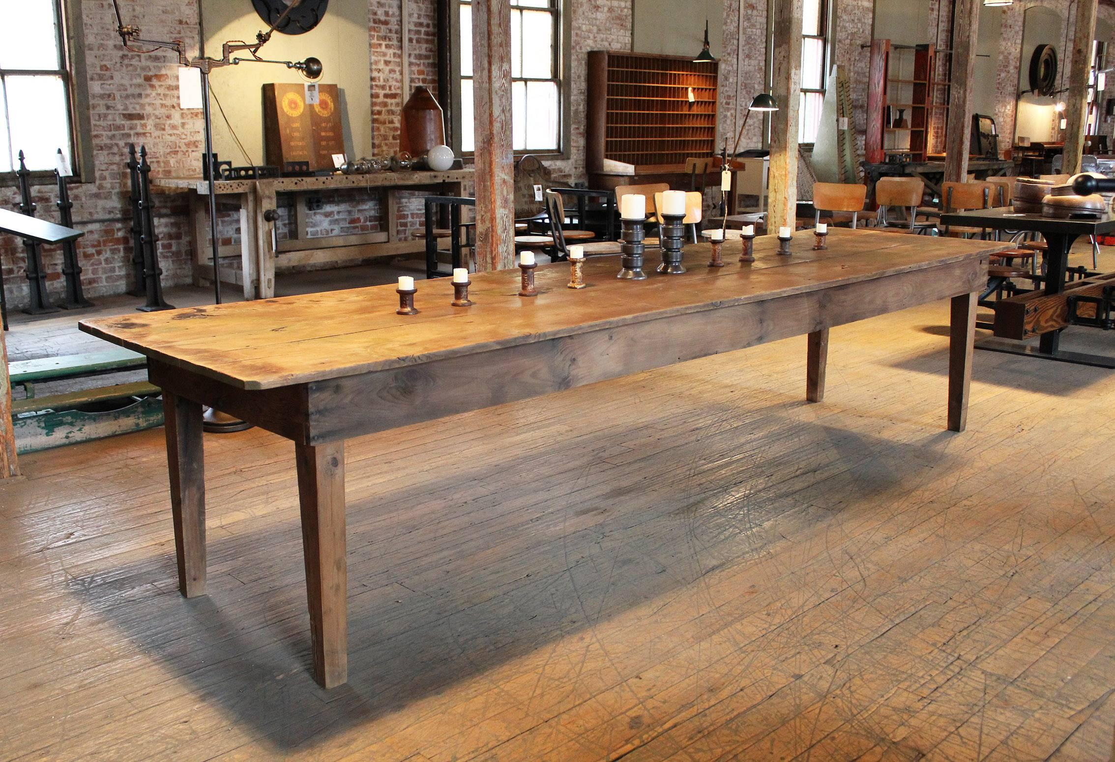 Rustic Wooden Pine Dining, Harvest, Farm Conference, Kitchen Table