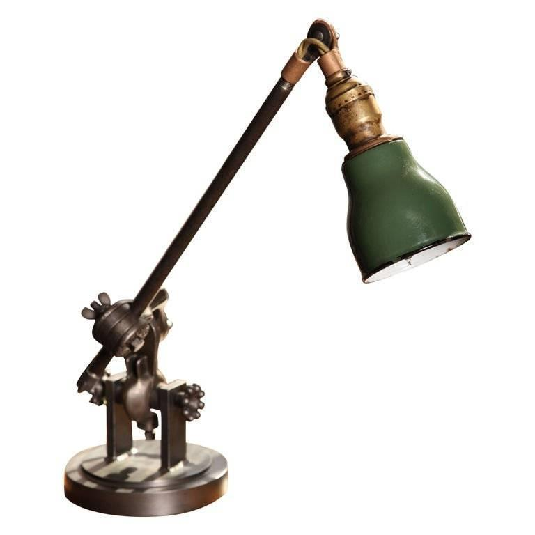 Desk Lamp Vintage Industrial Cast Iron U0026 Steel Adjustable Task Light For  Sale