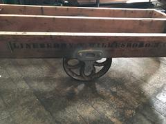 Vintage Industrial Rustic Wood & Cast Iron Factory Coffee Table - Rolling Cart