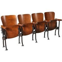Set of 3 Vintage Wood & Steel Folding Theater Seats