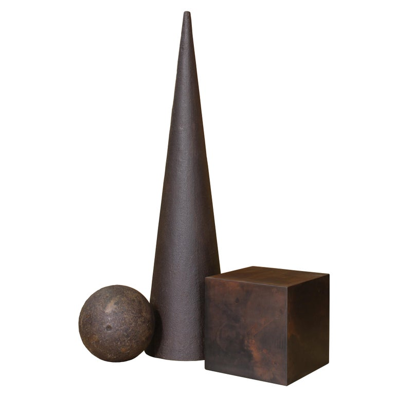 Industrial Art Sculpture 101, Cube, Sphere, Cone For Sale