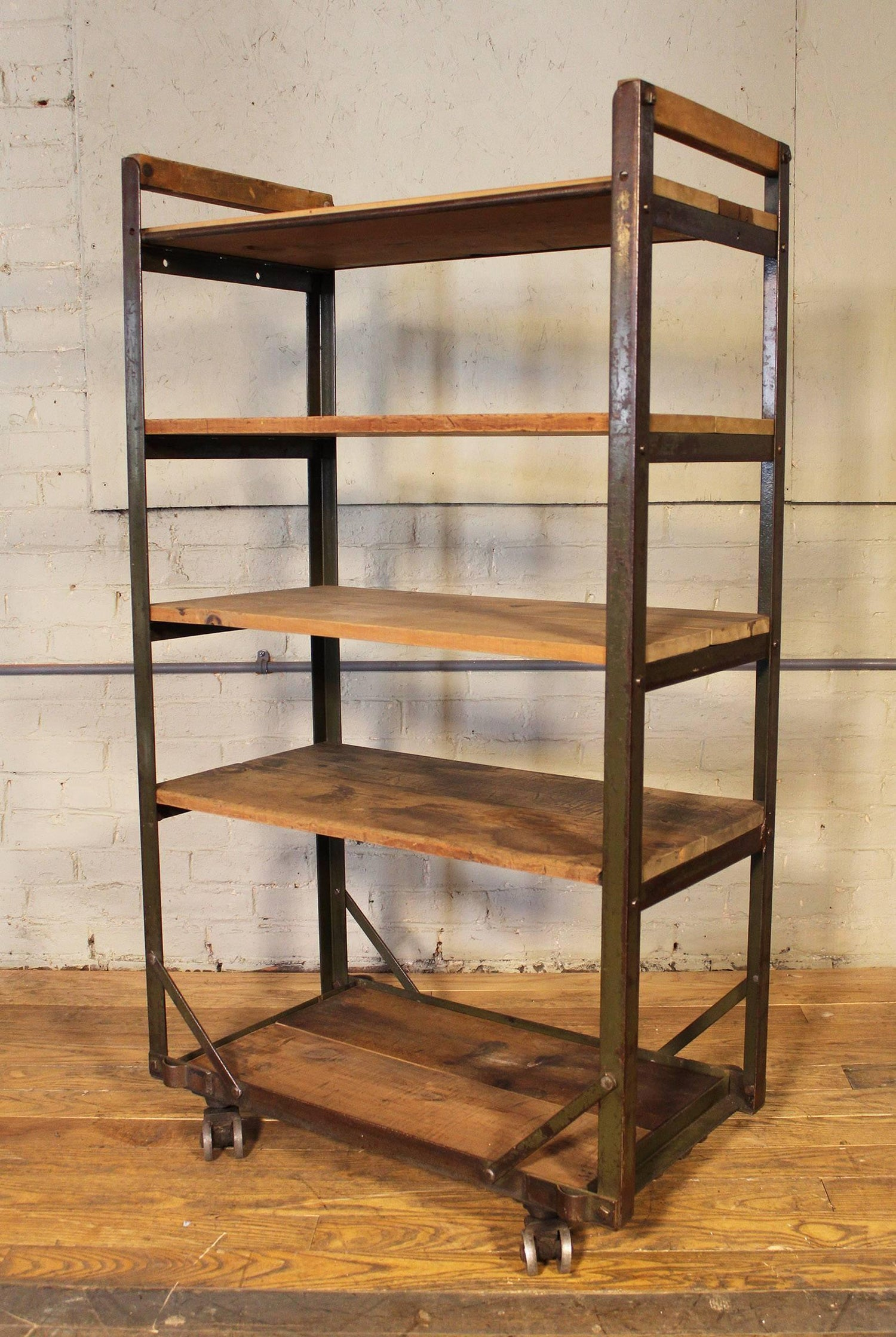 Rolling Shoe Cart, Rustic Wood And Steel Storage Rack For