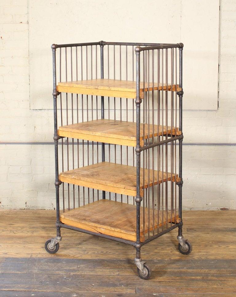 American Vintage Industrial Cart - Printers Bindery Rolling Bar Storage For Sale