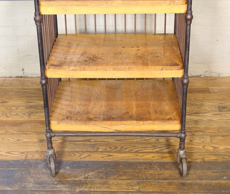 Vintage Printers Bindery Rolling Cart In Distressed Condition For Sale In Oakville, CT