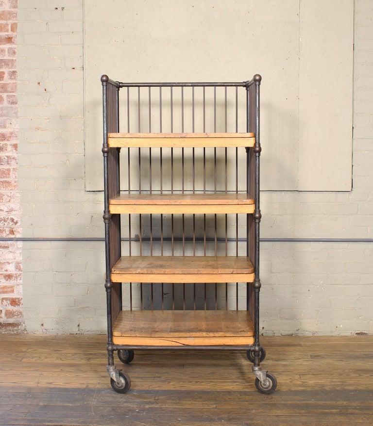 Vintage Industrial Cart - Printers Bindery Rolling Bar Storage For Sale 3