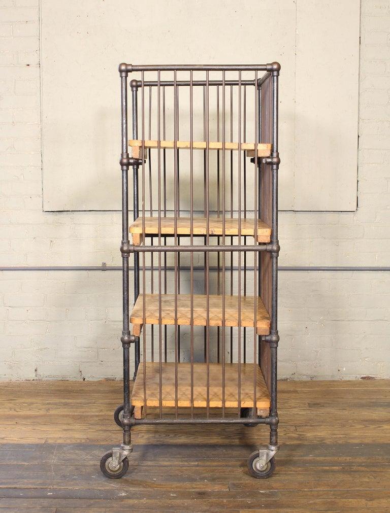 Vintage Industrial Cart - Printers Bindery Rolling Bar Storage For Sale 4