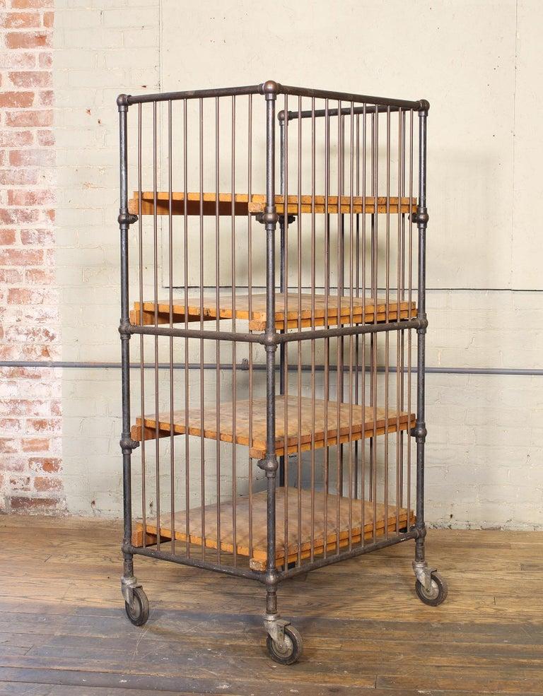 Vintage Industrial Cart - Printers Bindery Rolling Bar Storage For Sale 5