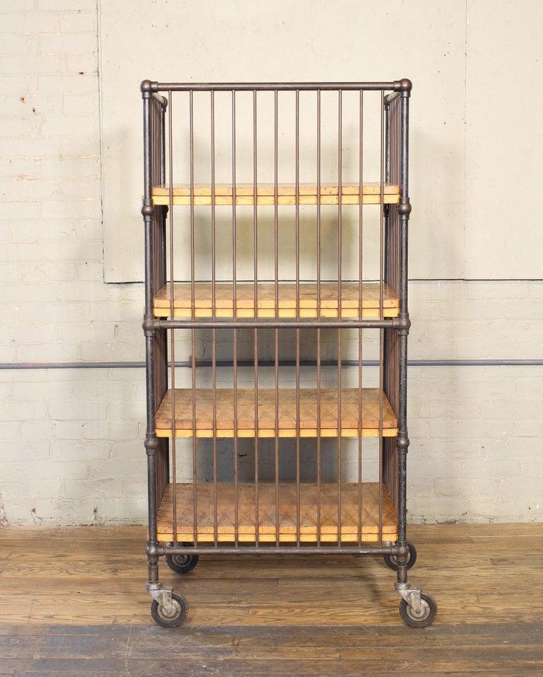 Vintage Industrial Cart - Printers Bindery Rolling Bar Storage For Sale 6