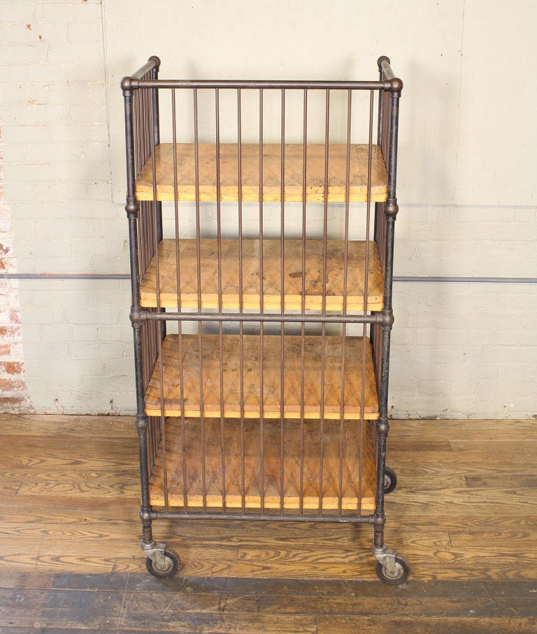 Vintage Industrial Cart - Printers Bindery Rolling Bar Storage For Sale 7