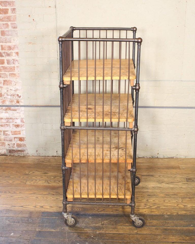 Vintage Industrial Cart - Printers Bindery Rolling Bar Storage For Sale 9
