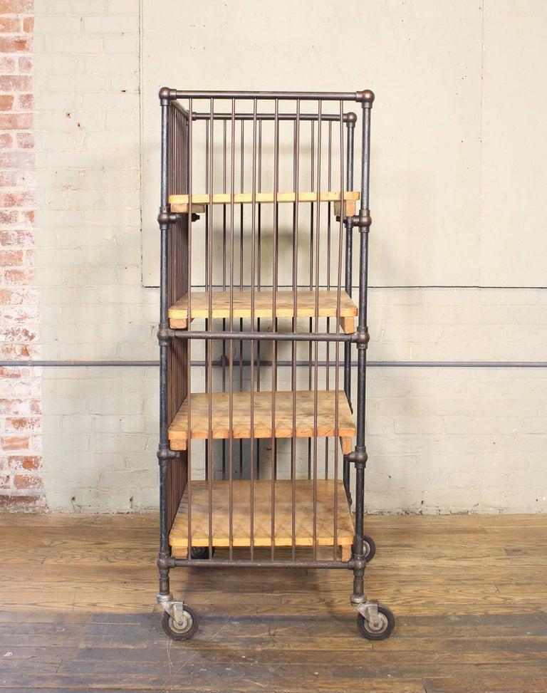 Vintage Industrial Cart - Printers Bindery Rolling Bar Storage For Sale 10