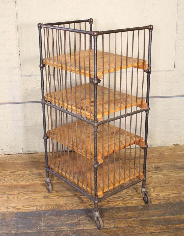 Vintage Industrial Cart - Printers Bindery Rolling Bar Storage For Sale 8