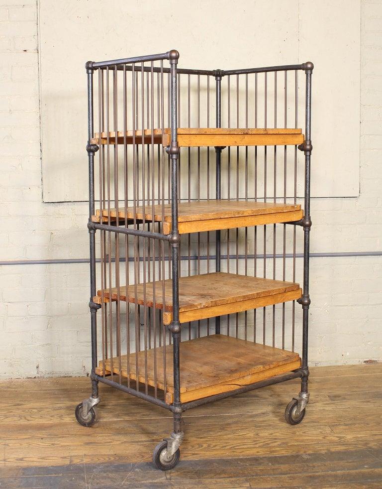 Vintage Industrial Cart - Printers Bindery Rolling Bar Storage For Sale 12