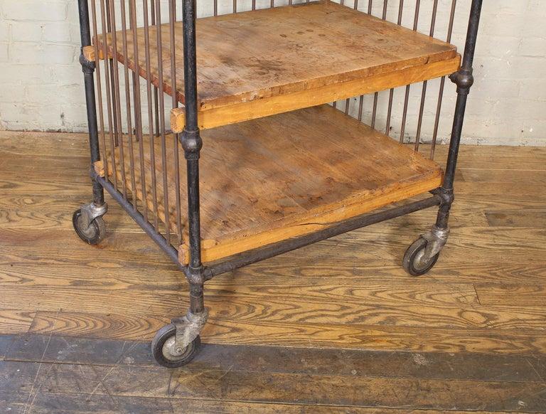 Vintage Industrial Cart - Printers Bindery Rolling Bar Storage For Sale 13