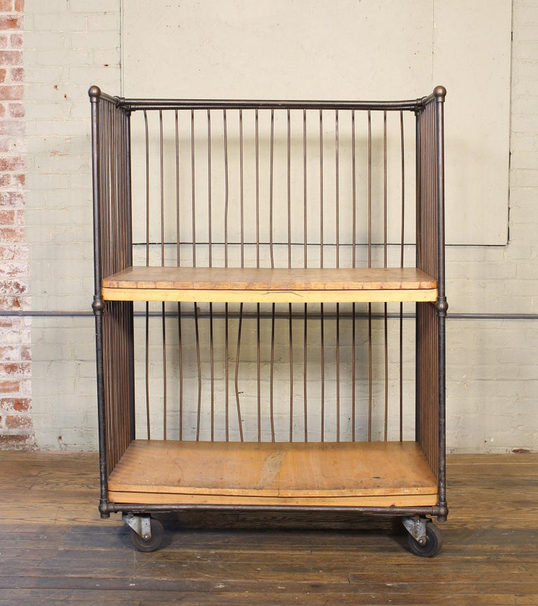 American Vintage Industrial Rolling Bindery Cart - Wood and Steel Two-Tier  For Sale