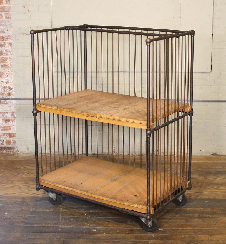 20th Century Vintage Industrial Rolling Bindery Cart - Wood and Steel Two-Tier  For Sale