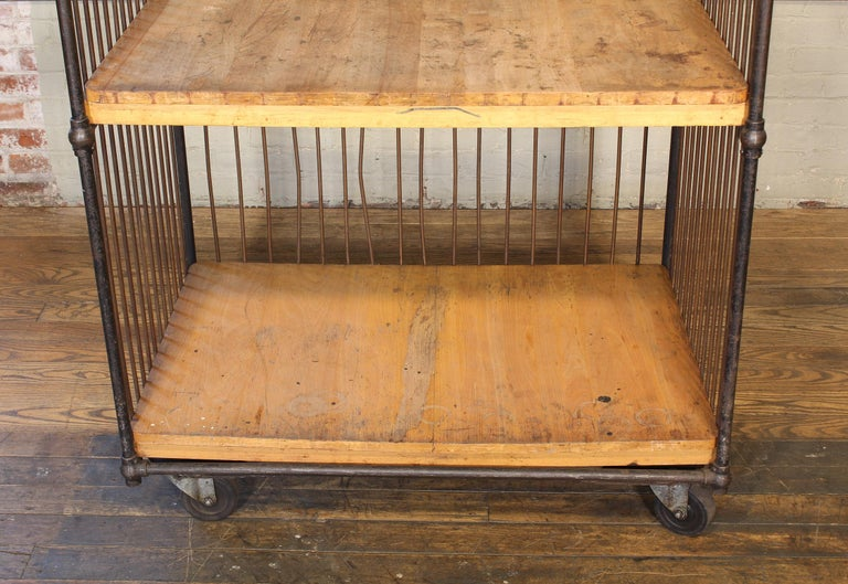 Vintage Industrial Rolling Bindery Cart - Wood and Steel Two-Tier  In Distressed Condition For Sale In Oakville, CT
