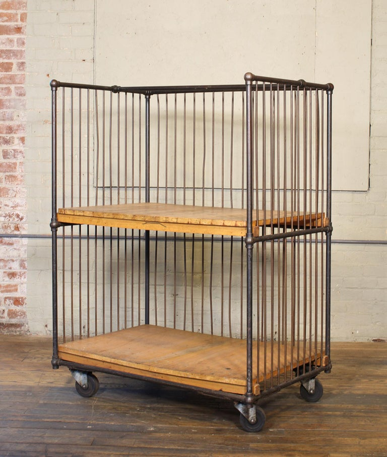 Vintage Industrial Rolling Bindery Cart - Wood and Steel Two-Tier  For Sale 2