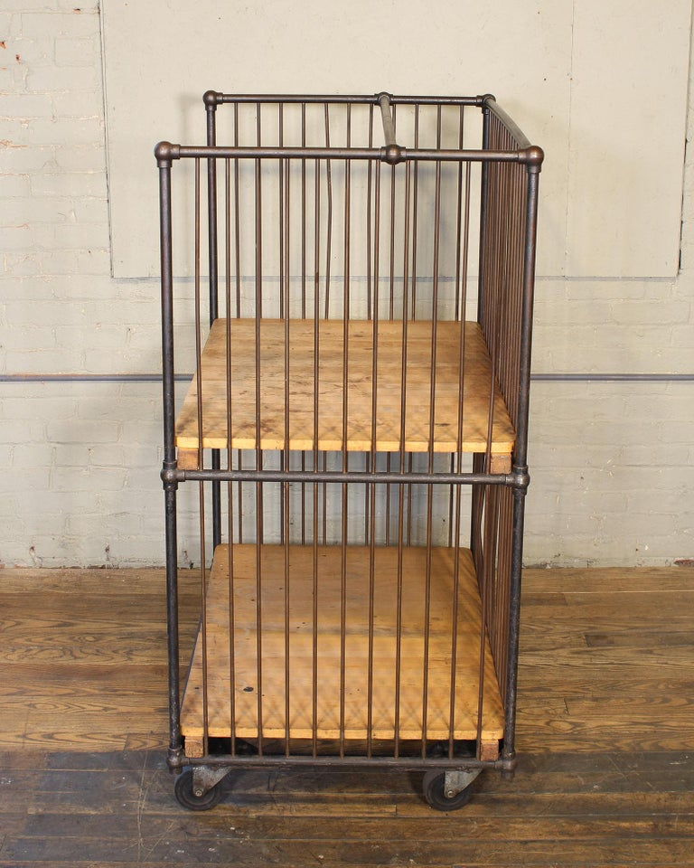 Vintage Industrial Rolling Bindery Cart - Wood and Steel Two-Tier  For Sale 9