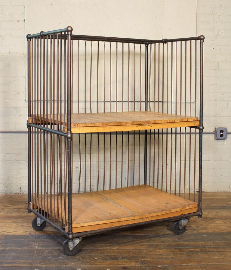Vintage Industrial Rolling Bindery Cart - Wood and Steel Two-Tier  For Sale 11