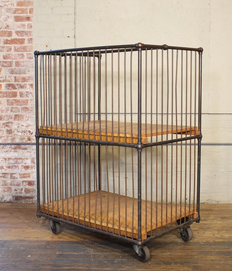 Vintage Industrial Rolling Bindery Cart - Wood and Steel Two-Tier  For Sale 13