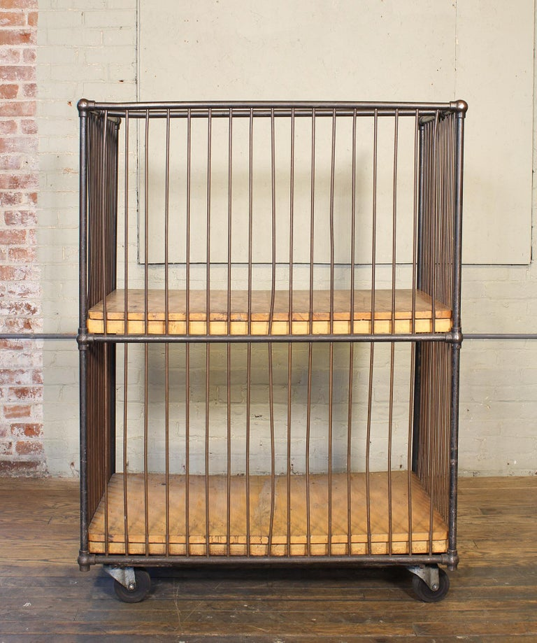 Vintage Industrial Rolling Bindery Cart - Wood and Steel Two-Tier  For Sale 14
