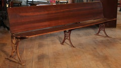 "Antique Maple and Cast Iron Folding Station Bench, Seat ""BUFFALO HARDWARE CO"""