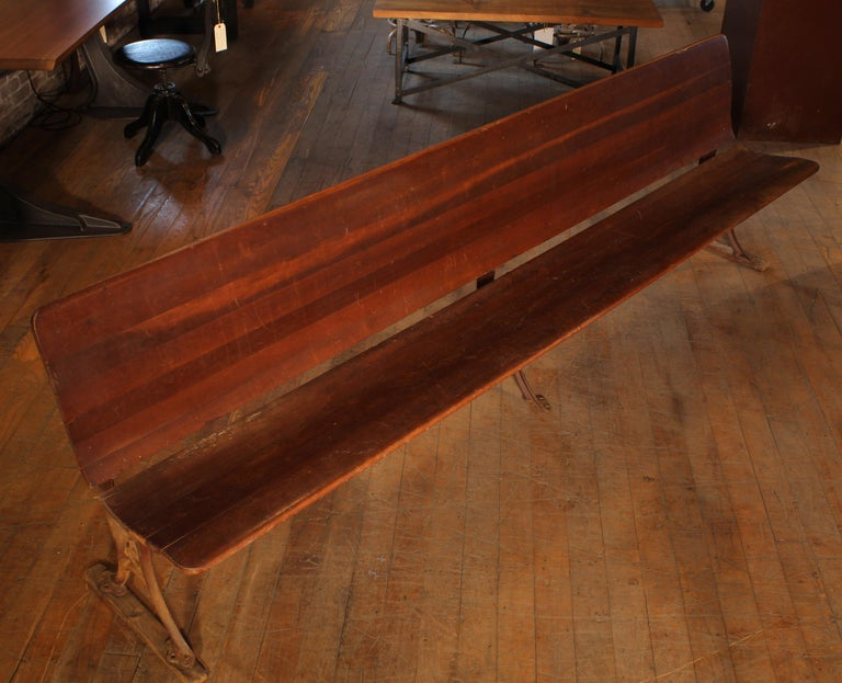 Antique Maple and Cast Iron Folding Station Bench, Seat