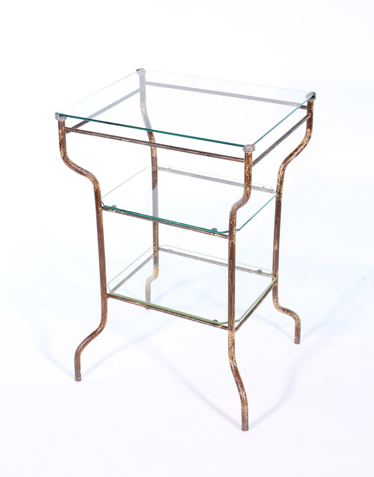 American Vintage Industrial Side Table - Three-Tier Distressed Metal and Glass For Sale