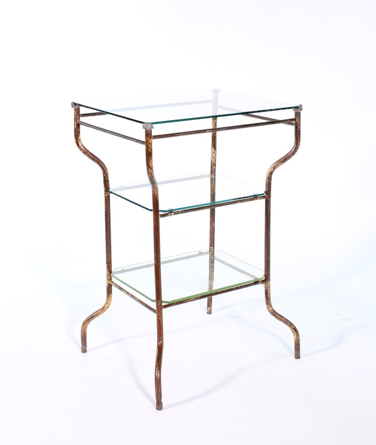 Vintage Industrial Side Table - Three-Tier Distressed Metal and Glass In Distressed Condition For Sale In Oakville, CT