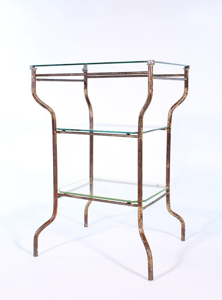 Vintage Industrial Side Table - Three-Tier Distressed Metal and Glass For Sale 10