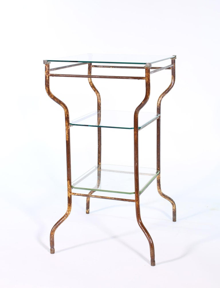 Vintage Industrial Side Table - Three-Tier Distressed Metal and Glass For Sale 13