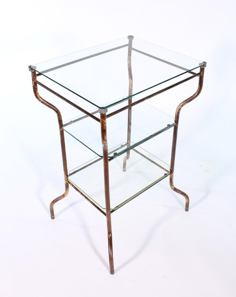 Vintage Industrial Side Table - Three-Tier Distressed Metal and Glass For Sale 15