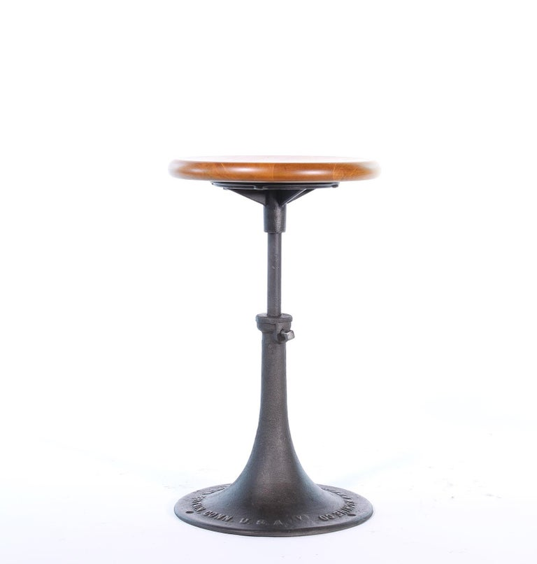 Iron Industrial Stool Antique New Britain Machine Co. Connecticut Backless Adjustable For Sale