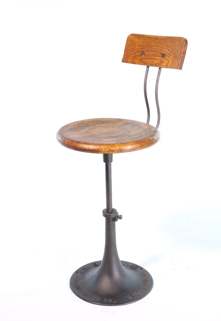 Industrial Antique New Britain Machine Co. Connecticut Factory Adjustable Stool with Back For Sale