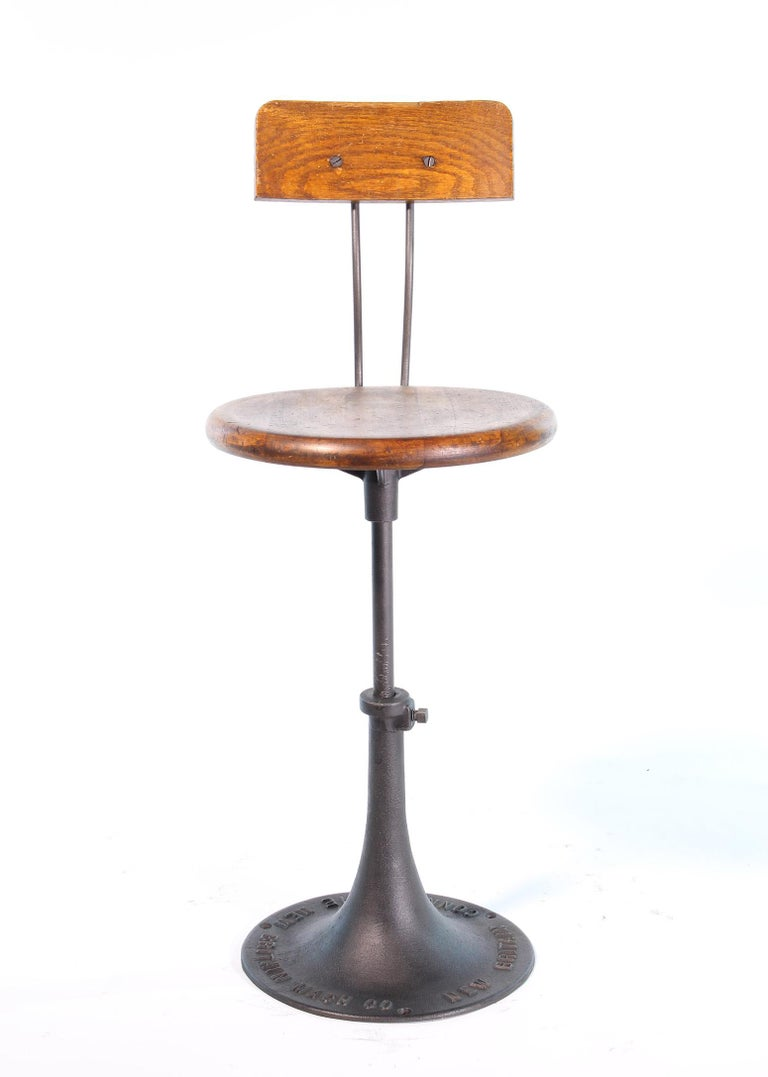 American Antique New Britain Machine Co. Connecticut Factory Adjustable Stool with Back For Sale