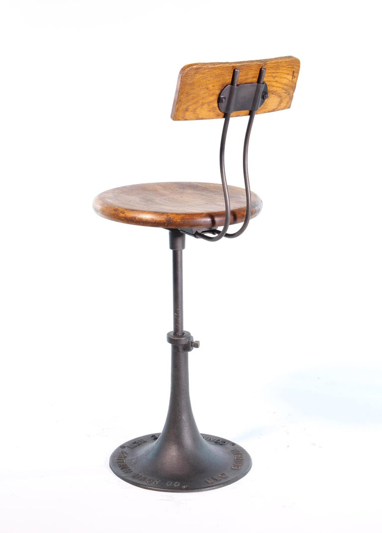20th Century Antique New Britain Machine Co. Connecticut Factory Adjustable Stool with Back For Sale