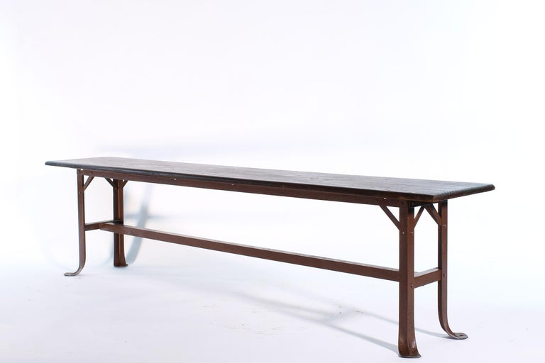 Wood and metal vintage industrial style bench. Measures: 72