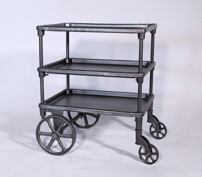 Iron Vintage Industrial Three-Tier Table Rolling Bar Cart For Sale