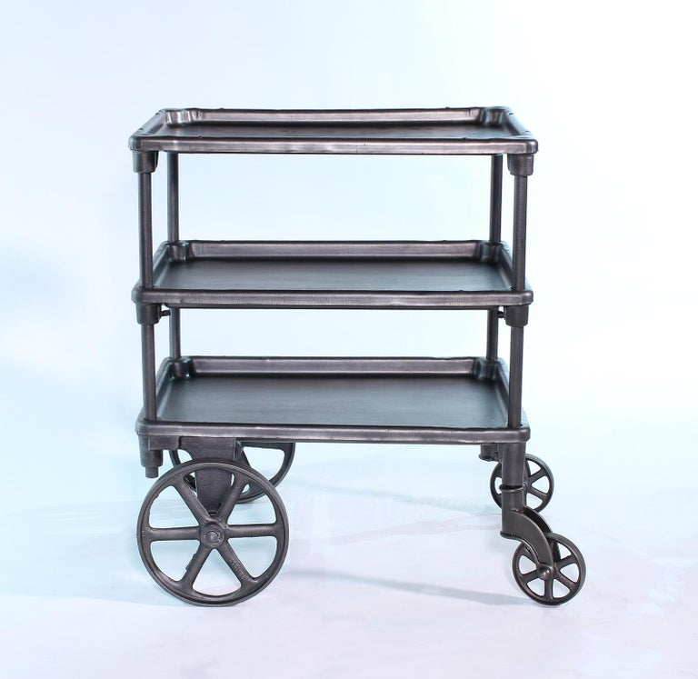 Vintage Industrial Three-Tier Table Rolling Bar Cart In Good Condition For Sale In Oakville, CT