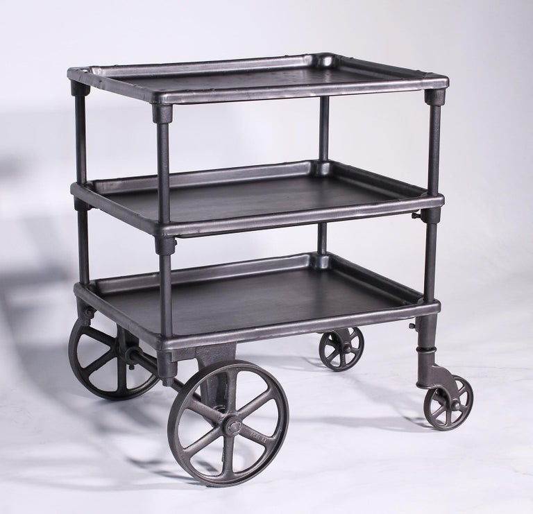 Vintage Industrial Three-Tier Table Rolling Bar Cart For Sale 1