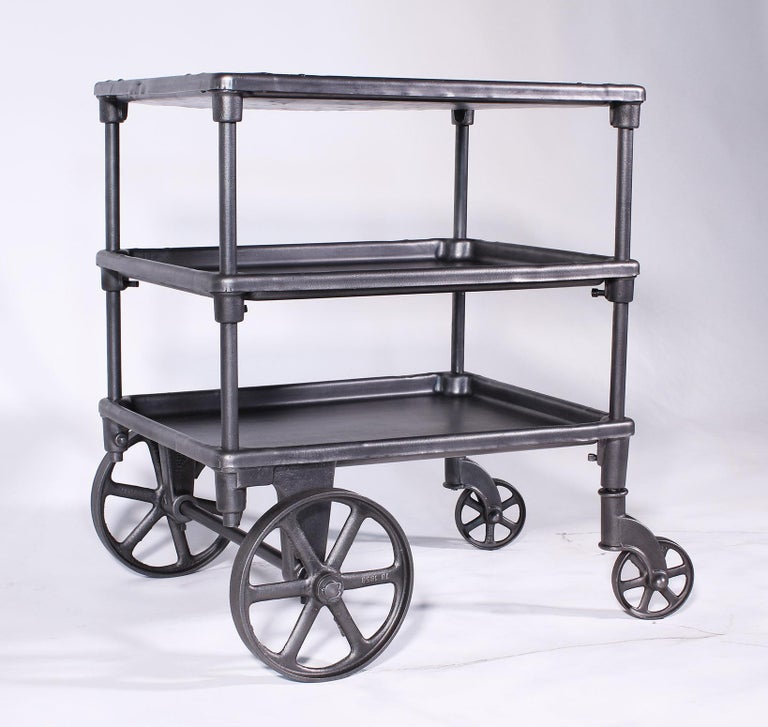 Vintage Industrial Three-Tier Table Rolling Bar Cart For Sale 2